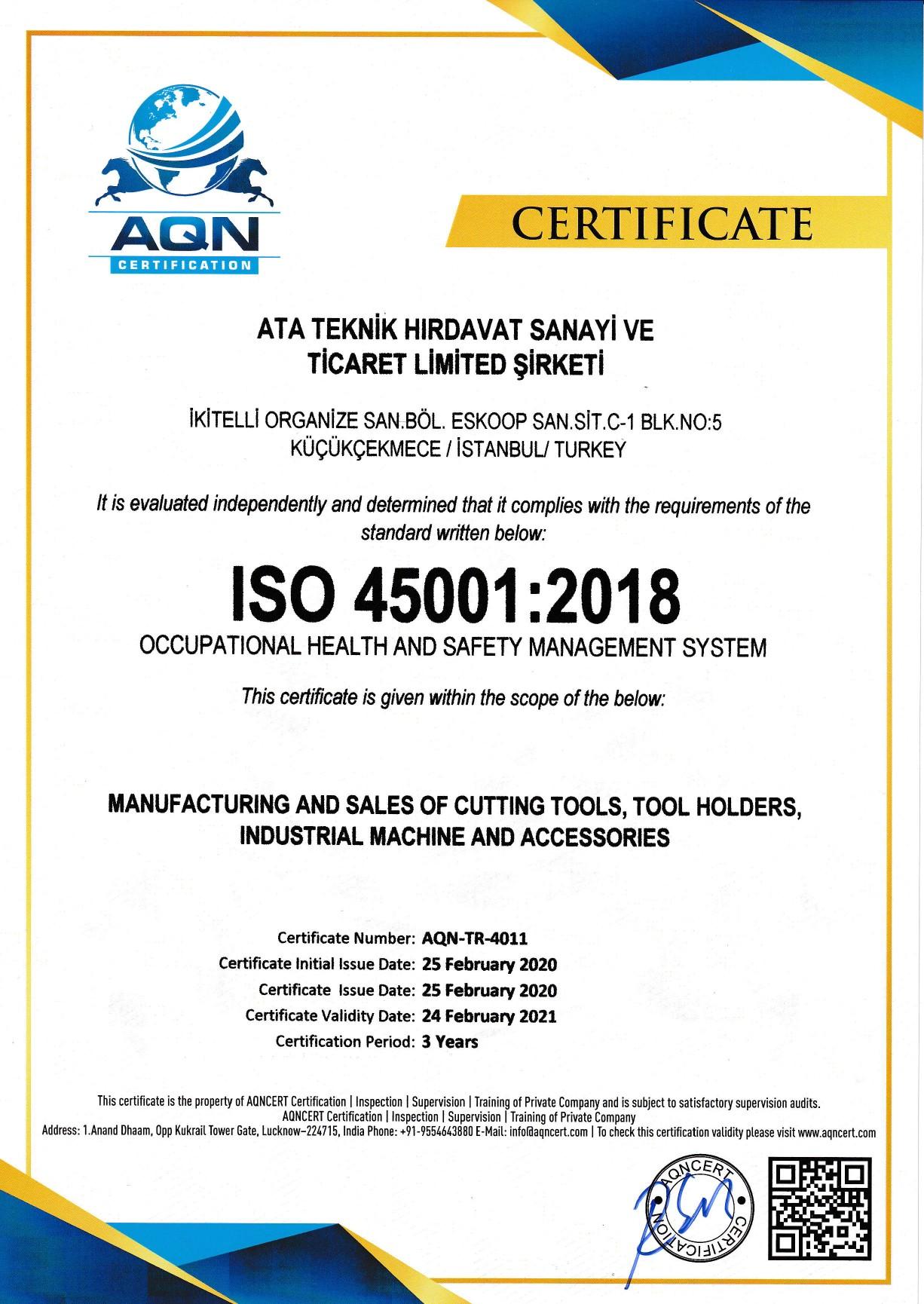 Heikenei ISO45001 Certificate